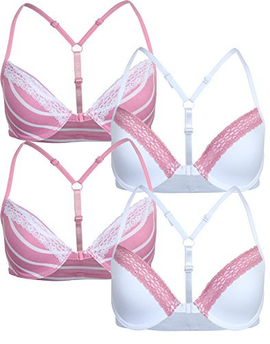 U.S. Polo Assn.. Girl's Underwire Padded Bra with Lace Trim (4 Pack), Rose/White, 30B' ()