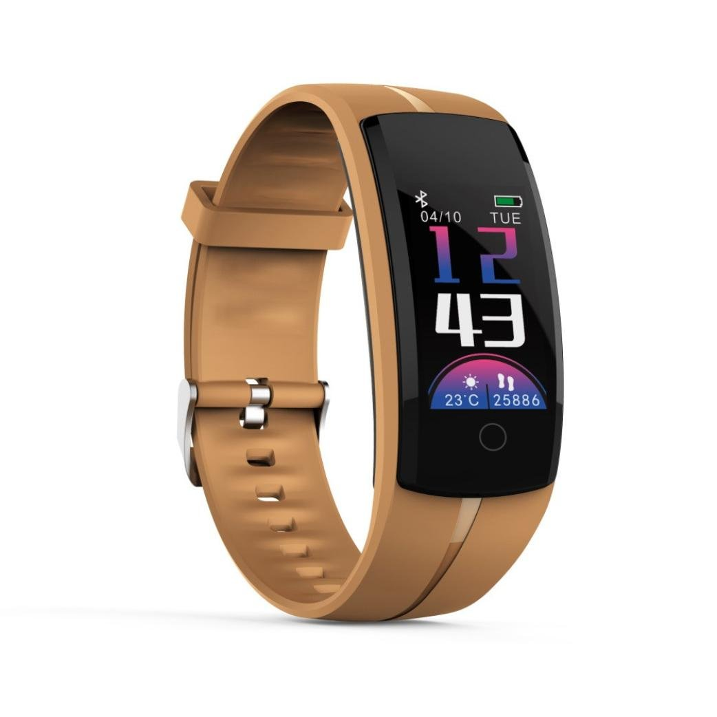 Sonmer Smart Fitness Tracker, Waterproof Smart Wristband with Heart Rate Monitor Calorie Counter Watch Pedometer Sleep Monitor Read Message Weather Forecast Anti-lost (Coffee)