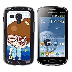 For Samsung Galaxy S Duos S7562 - Cute Nerd Cartoon Baby Girl /Modelo de la piel protectora de la cubierta del caso/ - Super Marley Shop -