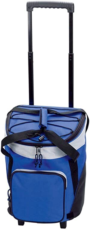 Preferred Nation Rolling Cooler, Polyester, Holds Up to 36 Cans Cool, Sturdy Pull Handle and Wheels - Blue