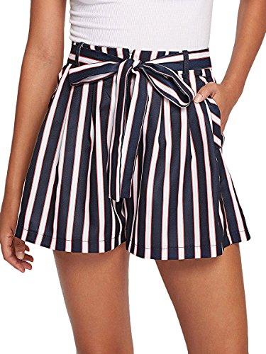 Romwe Women's Striped Tie Waist Knot Wide Leg Summer Walking Shorts with Pocket Navy L (Short Waist Stripe)