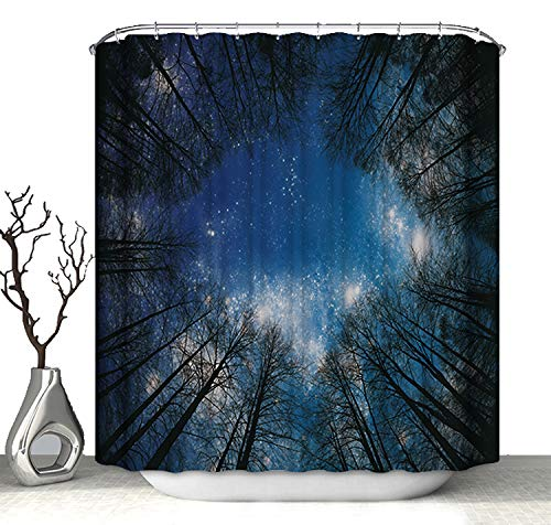 Polyester Waterproof Shower Curtain Heavy Duty Washable with Hooks for Bathroom Decorations Night Stars Forest Scene,180x180cm 70.9x70.9inch Astory 3D Shower Curtain with Digital Printing