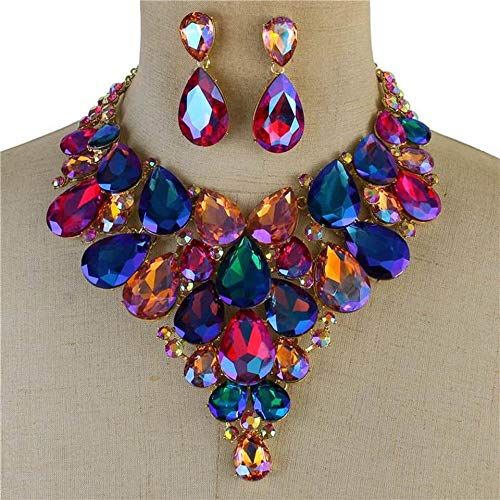 Claudia's Beauty Flair Jewelry Luxurious Multicolor Crystal Necklace Earrings Set Gift fits Wedding Dress