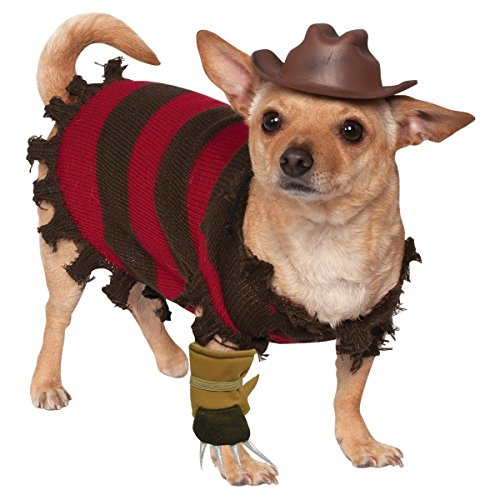 [Freddy Krueger Dog Costume Funny Halloween Pet Fancy Dress Striped Sweater Freddy Hat And Freddy Glove Sizes Medium Large Small X-Large Brand New (L] (Custom Werewolf Costumes For Sale)