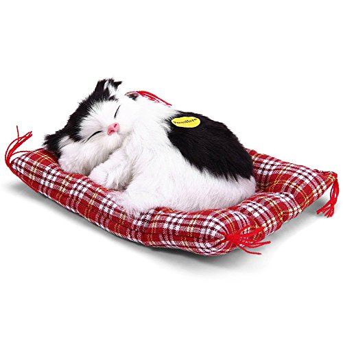 Toonol Lovely Simulation Animal Doll Plush Sleeping Cats with Sound Perfect Birthday Gift Doll Decorations Toy, Color White&Black