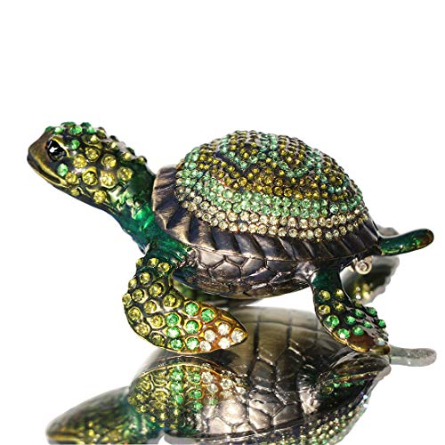Waltz&F Diamond Turtles Hinged Trinket Box Hand-Painted Animal Figurine Collectible (Green) from Waltz&F