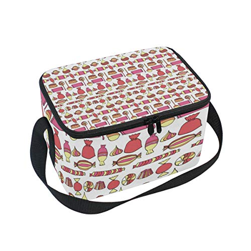 Candy Bars Bags Cup Cake Red Large Insulated Lunch Bag for Women Men and Kids,Soft Leak Proof Cooler Lunch Box Adjustable Shoulder Strap Zipper for Work Picnic Camping -