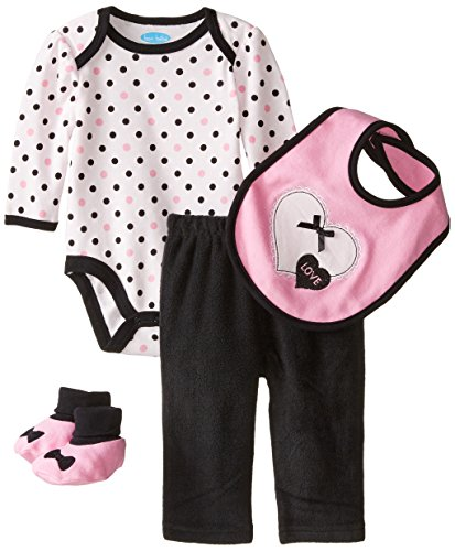 Bon Bebe Baby Girls' Bows and Animal Prints Set with Bodysuit with Legging, Pink Hearts/Black, 6-9 ()