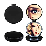 Compact Mirror Herwiss Lighted Travel Makeup Mirror with 10x Magnifying and 1x HD Led Illuminated Folding Compact Mirror - Portable Durable Lightweight - Free Standing or Hand Held