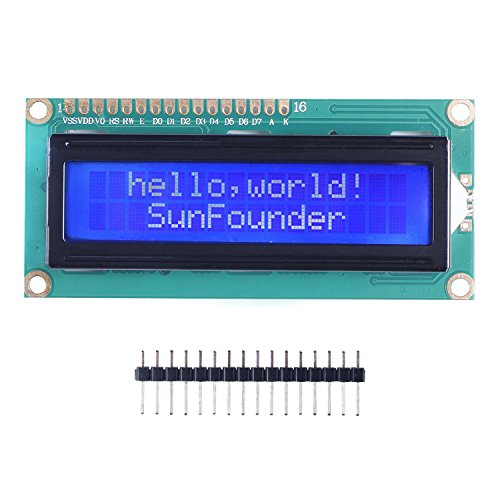 SunFounder LCD1602 Module with 3.3V Backlight for Arduino Uno R3 Mega2560 Raspberry Pi 16x2 Character White on Blue Background