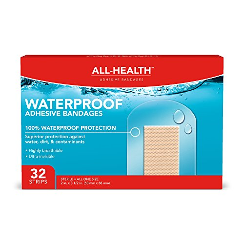 All Health Clear Waterproof Adhesive Bandages, 2 X 3-1/2″, 32Count