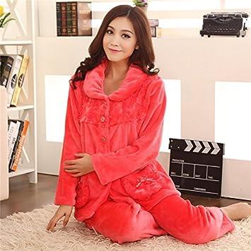 &zhou pijamas mujer ocio Rebeca mantenga cálido pijama grueso hogar ropa de invierno , red ,
