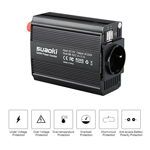Suaoki - 300W Convertisseur DC 12V AC 220V-240V, Transformateur de Tension Dual USB Ports 5V/2.1A, Corps en Aluminium, Attaches de Batterie de Voiture et Chargeur de Voiture, Noir on sale