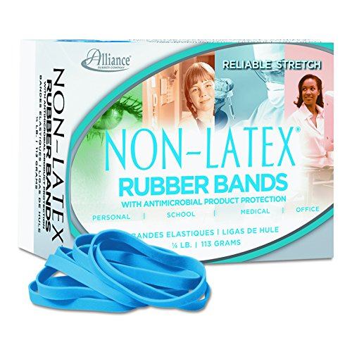 Alliance Rubber 42649  #64 Non-Latex Antimicrobial Rubber Bands, 1/4 lb box contains approx. 95 bands (3 1/2 x 1/4, Cyan Blue)
