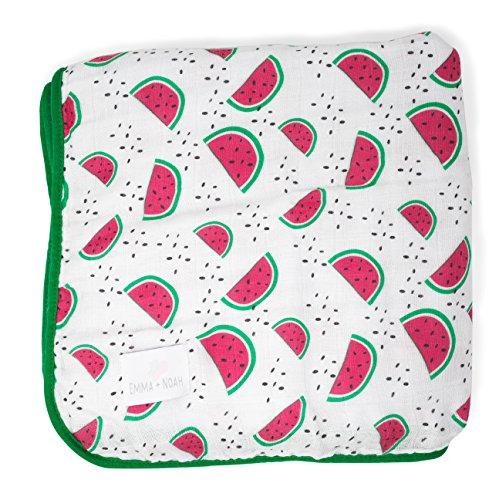 Emma & Noah Baby Blanket, 100% Soft Muslin (120cm x 120cm), Snuggle Blanket, Cotton Blanket for Baby Crib, Play mat, pram, and More (Watermelon)