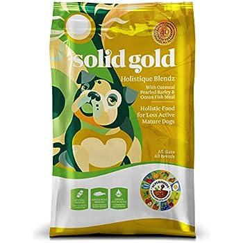 Solid Gold Holistique Blendz Holistic Dry Dog Food, Oatmeal, Pearled Barley & Ocean Fish Meal, Less Active Adult & Senior Dogs, All Sizes, 28lb Bag