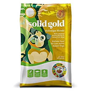 Solid Gold Holistique Blendz Holistic Dry Dog Food, Oatmeal, Pearled Barley & Ocean Fish Meal, Less Active Adult & Senior Dogs, All Sizes, 28lb Bag