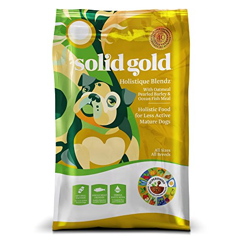 Solid Gold Holistique Blendz Holistic Dry Dog Food, Oatmeal, Pearled Barley & Ocean Fish Meal, Less Active Adult & Senior Dogs,