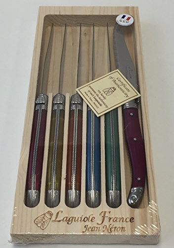 Neron Coutellerie Laguiole 6 Piece Set Steak Knives with Plated Flash Color Handle in Wooden Box by Jean Neron