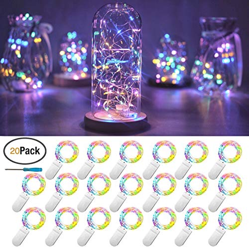 Jellyfish Costume Diy (FELISHINE 20 Packs Fairy String Lights, 6.6FT 20 LEDs Battery Operated Silver Copper Wire Starry String Light for DIY Party Christmas Costume Wedding Easter Table Decorations (4)
