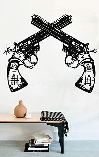 amazon com gun wall decals two revolvers weapon magnum decors vinyl