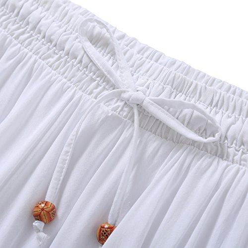 Jupe Elastique Classique Vintage Femme Elgante Taille DEBAIJIA Plisse Dcontract Maison Et Jupe Blanc Simple pour Coton Plage Maxi wRx8AaH