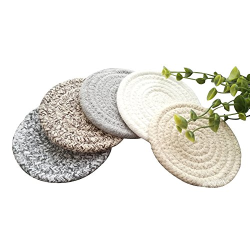 (POPU Round Cotton Braided Table Place Mats Braided Coaster Non-Slip Placemats Table Mats Set of 5 for Cups Dining Kitchen Washable Small)