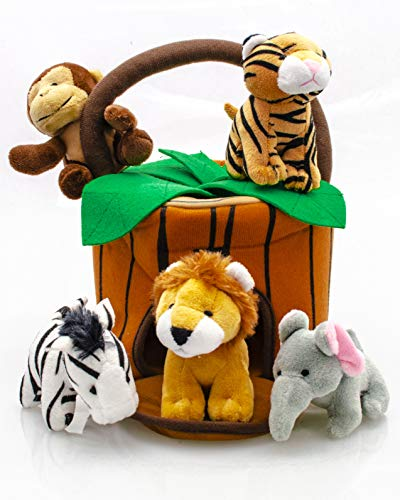Play22 Plush Talking Stuffed Animals Jungle Set - Plush Toys Set with Carrier for Kids Babies & Toddlers - 6 Piece Set Baby Stuffed Animals Includes Stuffed Bear, Elephant, Tiger, Lion, Zebra, Monkey ()