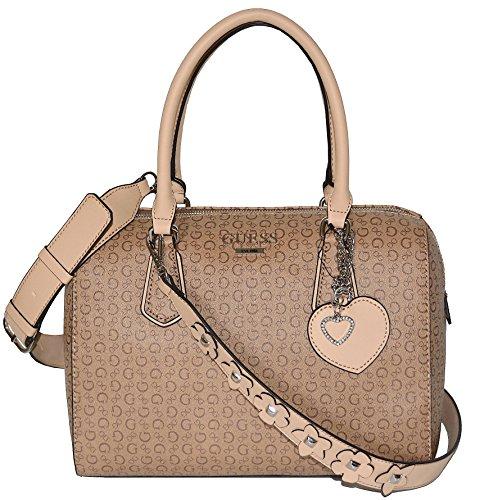 Guess Signature Society Satchel Tote Bag Handbag Purse Mocha