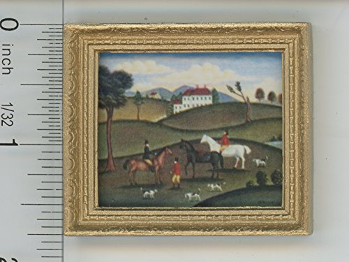 Dollhouse Miniature Gold Framed Picture of a Fox (Hunt Framed)