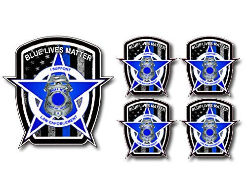 5 pack of Thin Blue Line Police Officer BLM American Flag vinyl decal sticker Car Truck ()