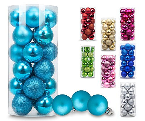 AMS Christmas Ball Ornaments Exquisite Colorful Balls Decorations Pendant Pack of 24pcs (40mm, Turquoise) Colorful Christmas Trees