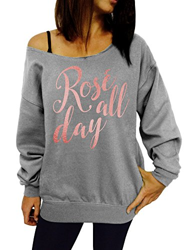 Rose All Day Slouchy Sweatshirt - Medium Gray Rose Gold Ink