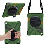 iPad Pro 10.5 Case,Keweni 360 Degree Swivel Stand/Hand Strap and Shoulder Strap Case[Heavy Duty]Three Layer Ultra Hybrid Shockproof Full-Body Protective Case(No iPad 9.7 inch 2017) (Camouflage)
