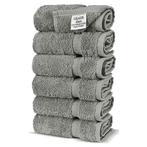 Chakir Turkish Linens Turkish Cotton Luxury Hotel & Spa Bath Towel, Hand Towel – Set of 6, Gray