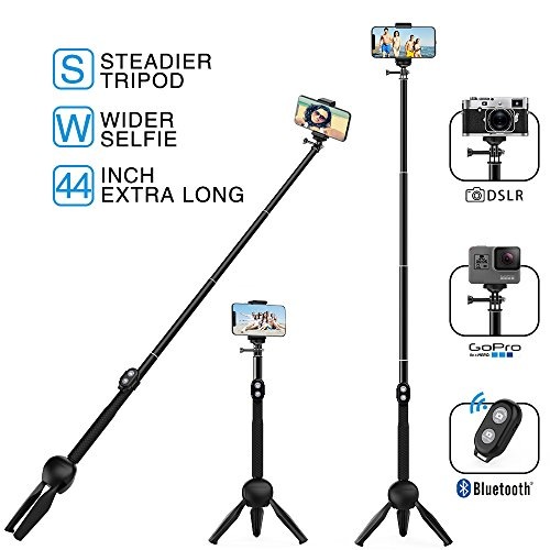MEIDI Bluetooth Selfie Stick, Selfie Stick Tripod, 12-38 In Extendable Monopod With Wireless Remote, Waterproof Flexible Fashionable And Suitable For ALL Apple & Android & GoPro & Mini Cameras Device by MEIDI