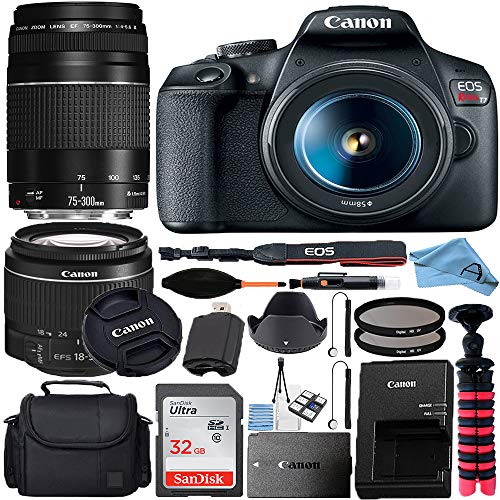 Canon EOS Rebel T7 DSLR Camera with 18-55mm + 75-300mmLens + SanDisk 32GB Card, Tripod, Case, and More (23pc Bundle) (75…