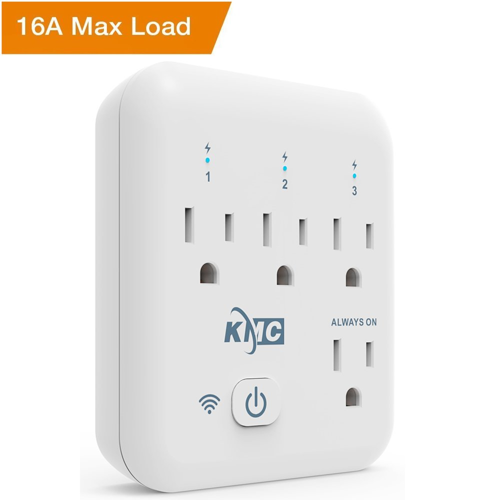 KMC 4 Outlet WiFi Smart Plug with Energy Monitoring Smart Outlet, Remote Control Wall Surge Protector, No Hub Required, Works with Amazon Alexa/Google Home/IFTTT