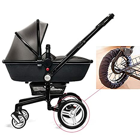 Queta - Rueda para cochecito de bebé, color negro, a prueba de polvo, con ruedas de 12 a 16 cm de diámetro: Amazon.es: Bebé
