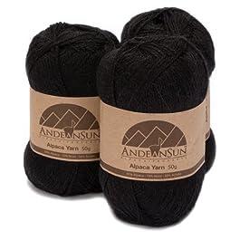 (Set of 3) Alpaca Yarn Blend UMAYO Fingering #2 (5.29 Ounces/150 Grams Total) Lovely and Soft to Enjoy Knitting – Crocheting – Weaving (Black)