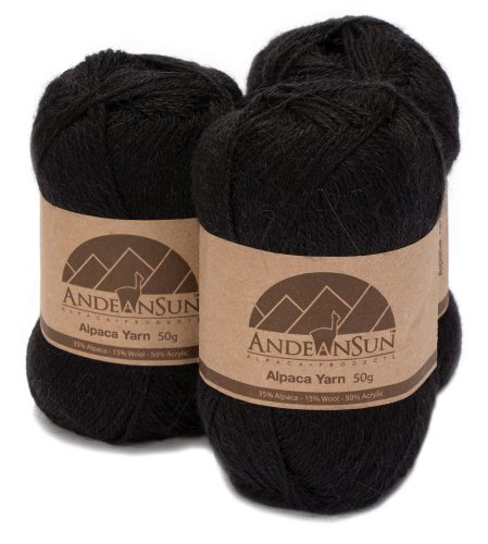 (Fingering Alpaca Yarn Blend (Weight #2) FINE, Sport, Baby Skeins - Set of 3 SKEINS - 654 Yards Total - 150 Grams - 5.28 Ounces Total)