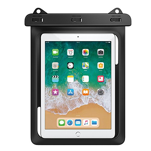 MoKo Universal Waterproof Case, Dry Bag Pouch for New iPad 9.7 2017, iPad Pro 9.7, iPad Air 2, iPad 4/3/2, Samasung Tab S3/Tab S2/Tab A 9.7, Galaxy Note 8, Tab E 9.6 and More Up to 10 Inch, Black