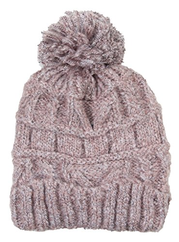 (Fashion Love Pom Pom Solid Color Cable Knit Warm Winter Stretch Cap Super Soft (Dusty Rose Pink))