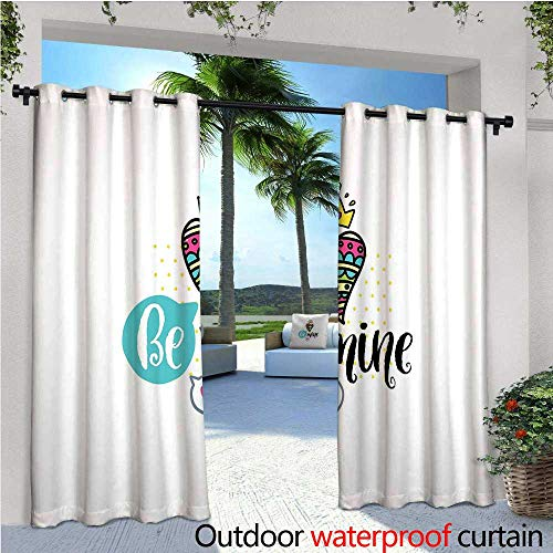 cobeDecor Romantic Indoor/Outdoor Single Panel Print Window Curtain Colorful Patterned Heart Shape with a Crown Creative Typography Phrase Be Mine Silver Grommet Top Drape W108 x L84 Multicolor (Mine Silver Crown)