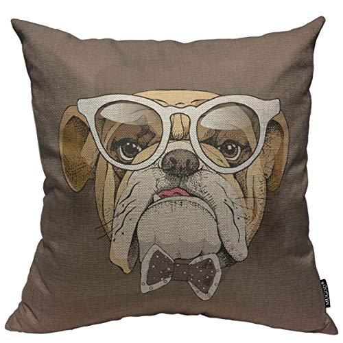 (Mugod Bulldog Throw Pillow Cover Funny Bulldog Suit Portrait in a Glasses and with a Tie Decorative Square Pillow Case for Home Bedroom Living Room Cushion Cover 18x18 Inch)
