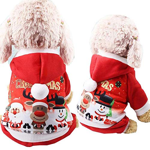 Christmas Pet Costume Santa Snowman Deer Pattern Dog Outfit Jumpsuit Clothes for Xmas Party Supplies Xmas Gifts (M) ()