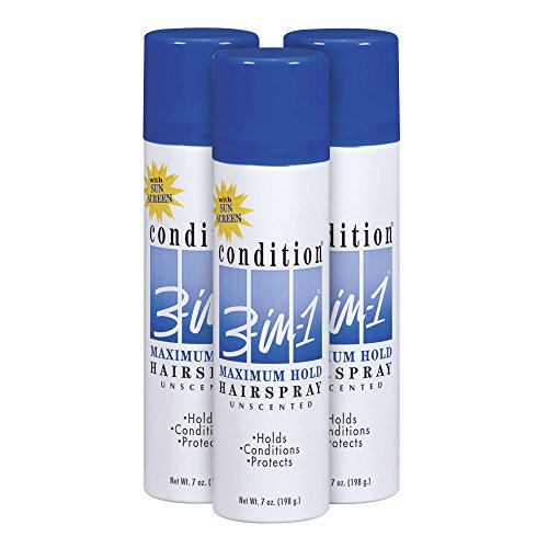 Condition 3-in-1 Maximum Hold Unscented Hairspray, 7 Ounce (Pack of 3)