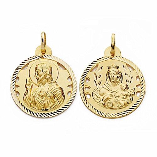Médaille pendentif 24mm or 18k Scapulaire Vierge Carmen Coeur de Jésus [AA2477]