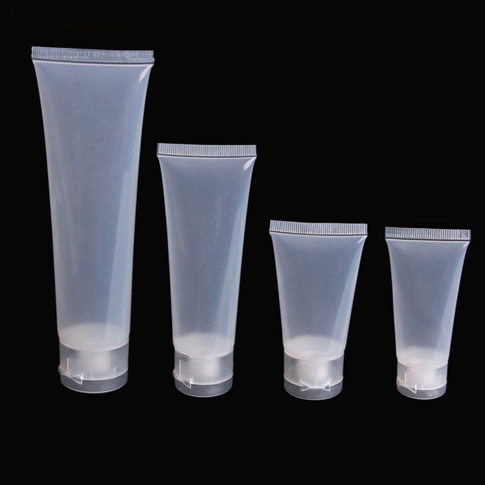 Swiduuk 5pcs Squeeze Cosmétique Crème Lotion Tube Plastique Voyage Bouteille Vide Conteneur transparent transparent 30 ml