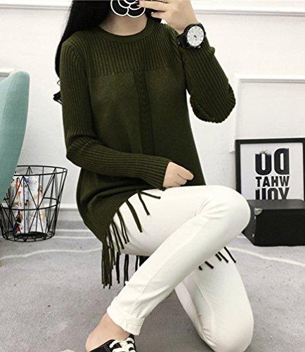 WanYang Mujeres Suéter Borla Suelto Sueter de Pulover Suelto Suéter Pull-over Parte Superior Blusa Tops Verde